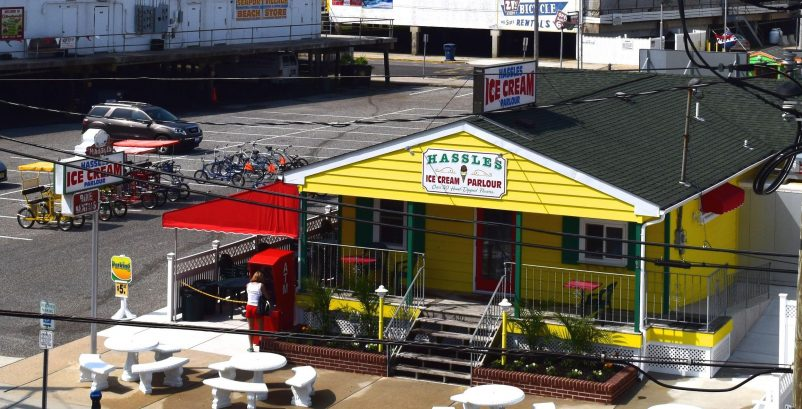 Hassle's Ice Cream Parlor and Bicycle Rental Directly Across the Street