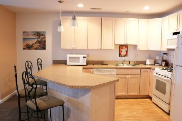 kitchen area with bar