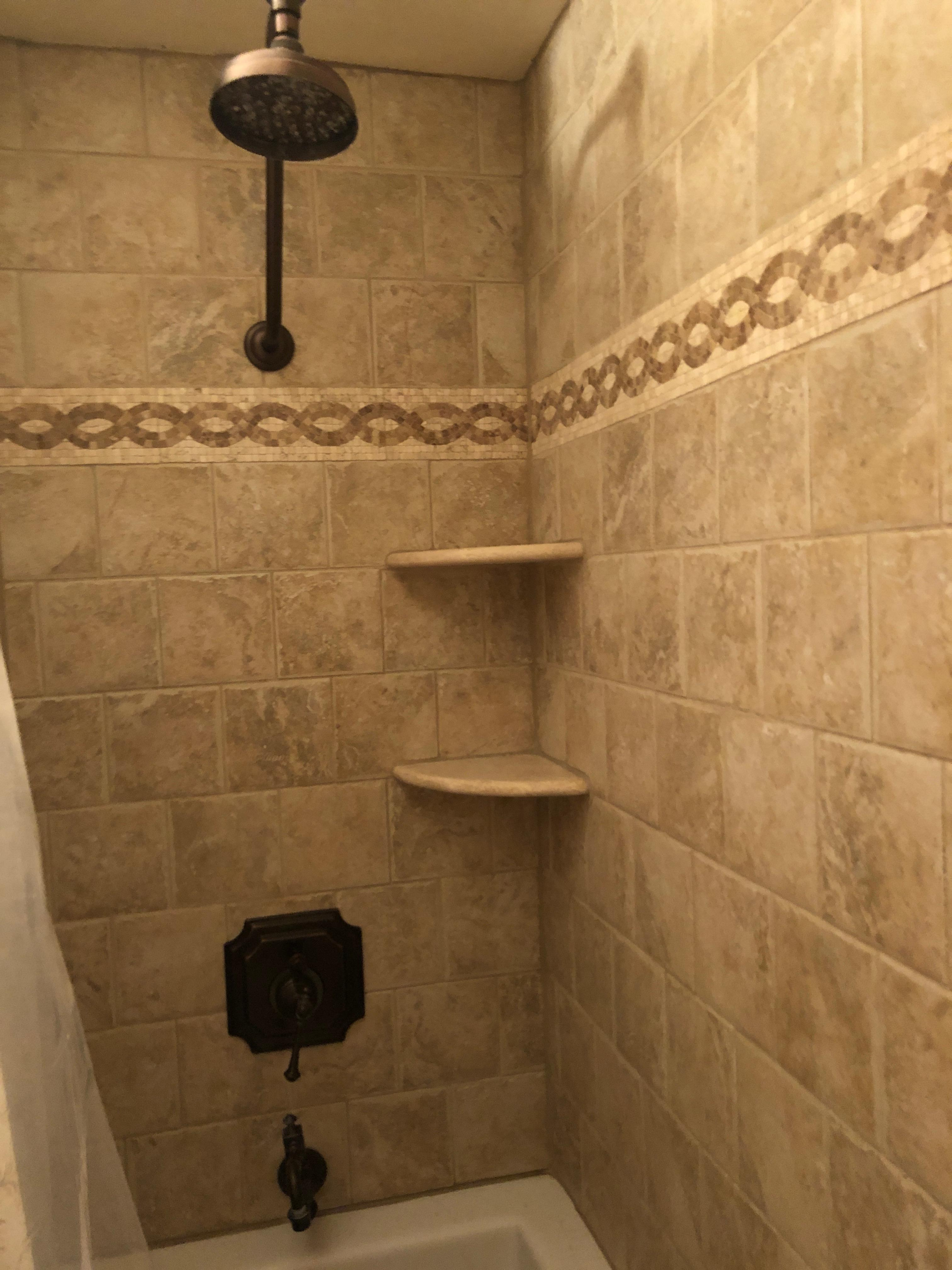 Master shower and deep jetted tub