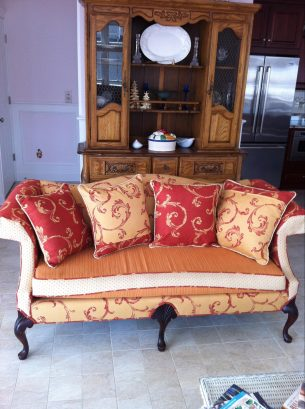 one of two matching sofas in the living room