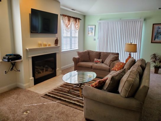 living room w/ dvd and fireplace