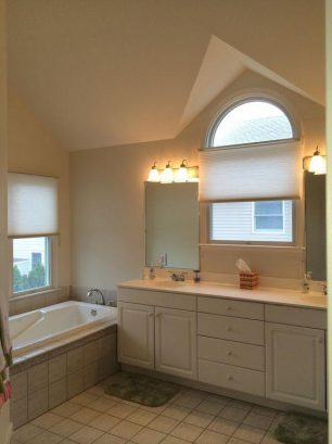 Materbedroom Bath with Jacuzzi Tub, Shower, and Dual Vanity Cathedral ceilings