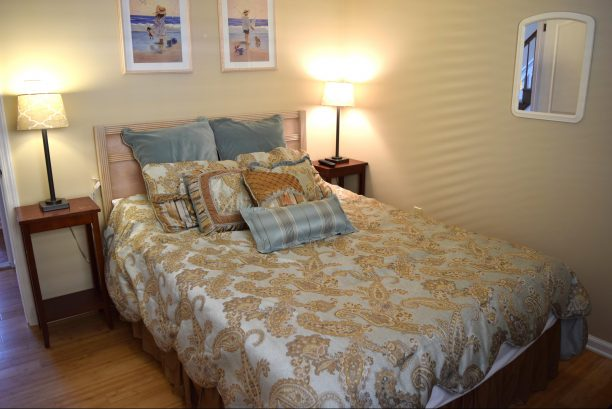 KING size bed, luxury mattress, new furniture coming 2020 Flat Screen TV, across from full bath (1st floor)