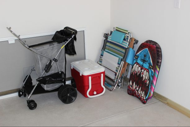 2 beach chairs, cooler, boady boards & cooler