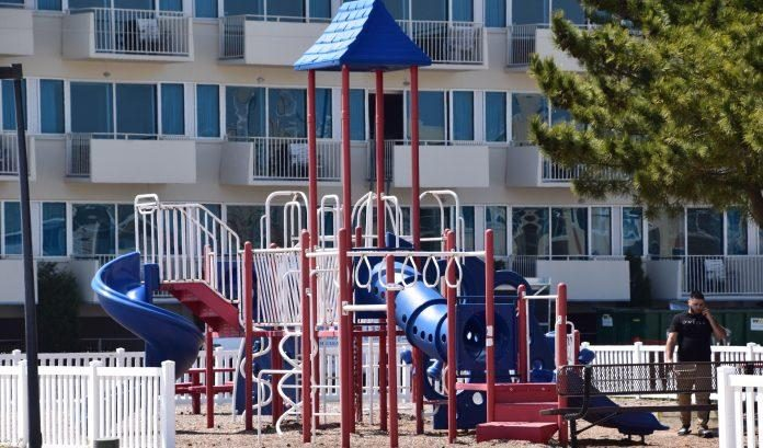 park with jungle gym and basketball courts