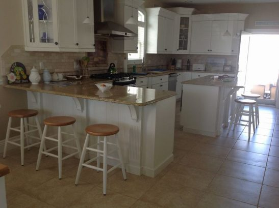 View of two kitchen islands