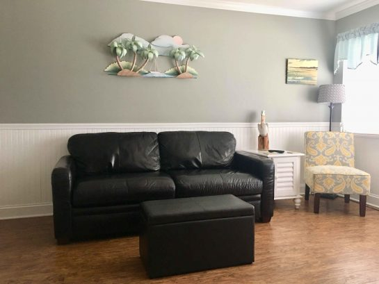 Leather sofa with queen sleeper
