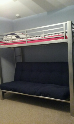 Futon full-bed bunk allows kids watch Tv or play games in comfort