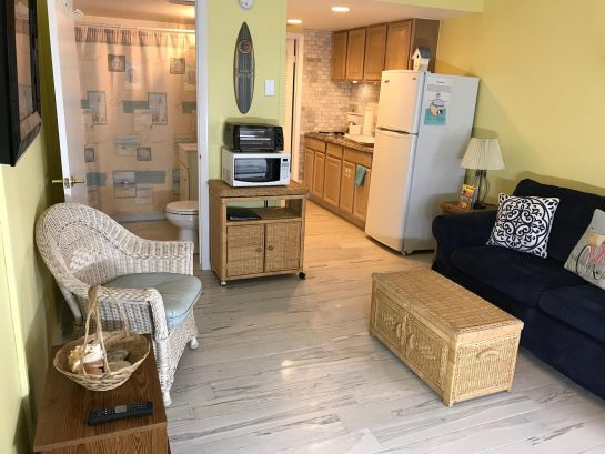 Our condo was newly re-furbished with new floors, ceiling fans, kitchenette, bedding etc.
