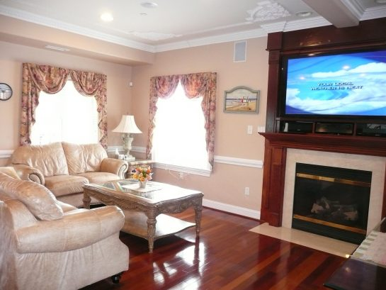 Inviting Living Room with big screen TV
