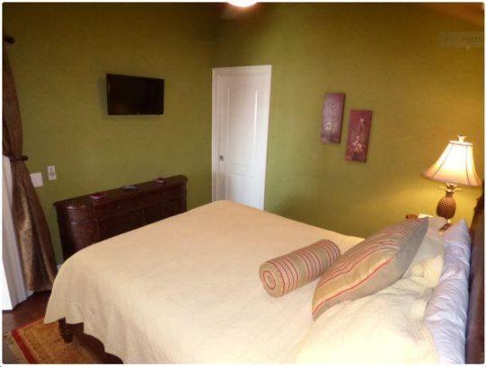 Bedroom view with TV and pocket door to bathroom