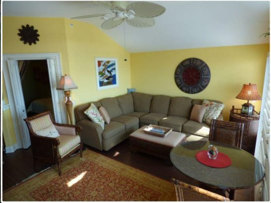 Living area with comfy sectional sofa