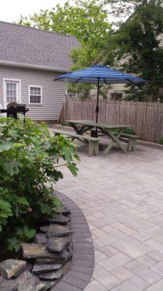 New paved backyard picnic area