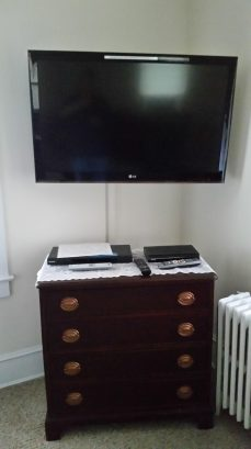 Large living room with HD TV and DVD player