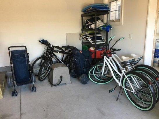 garage w/bikes and beach supplies & accessories