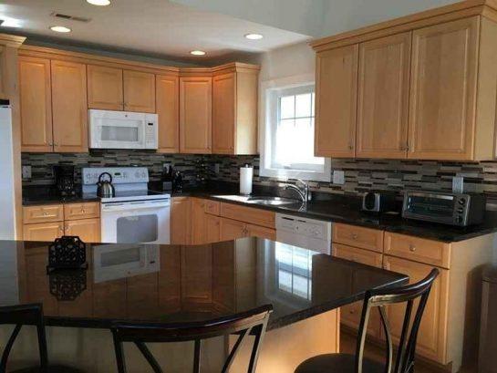 kitchen with new backsplash
