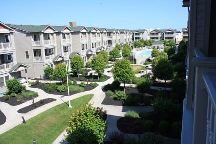 Beautiful, serene Wildwood Square view from master bedroom balcony.
