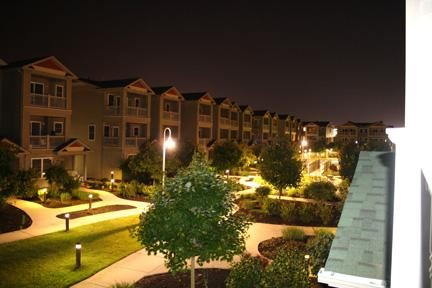 Night view from second floor balcony.