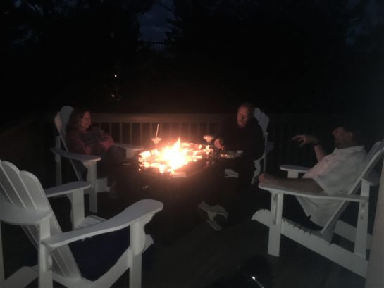 Propane Fire Pit on back Deck