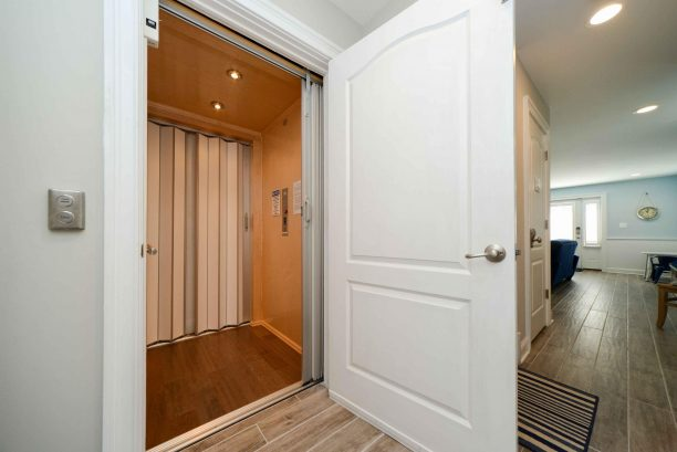Private internal elevator next to stairwell from ground level to 2nd floor (top floor)