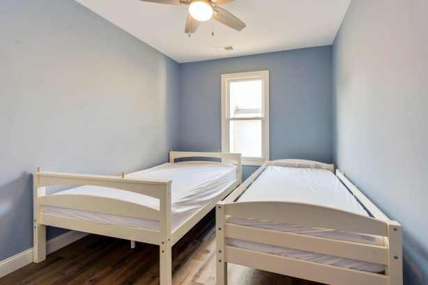 left unit BR 1 (twin and full beds, also can be bunked. closet space.