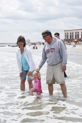Tim and Judy enjoying Ocean City with their oldest grandchild