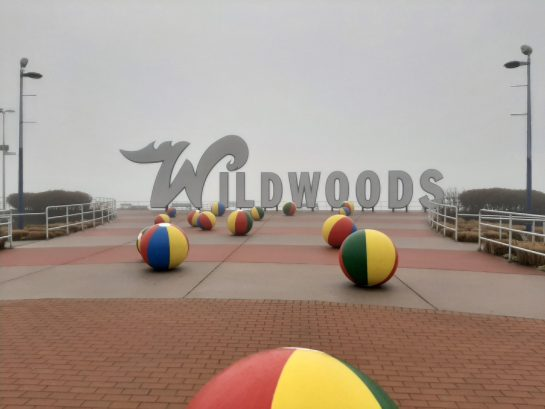 Famous beachballs landmark at boardwalk