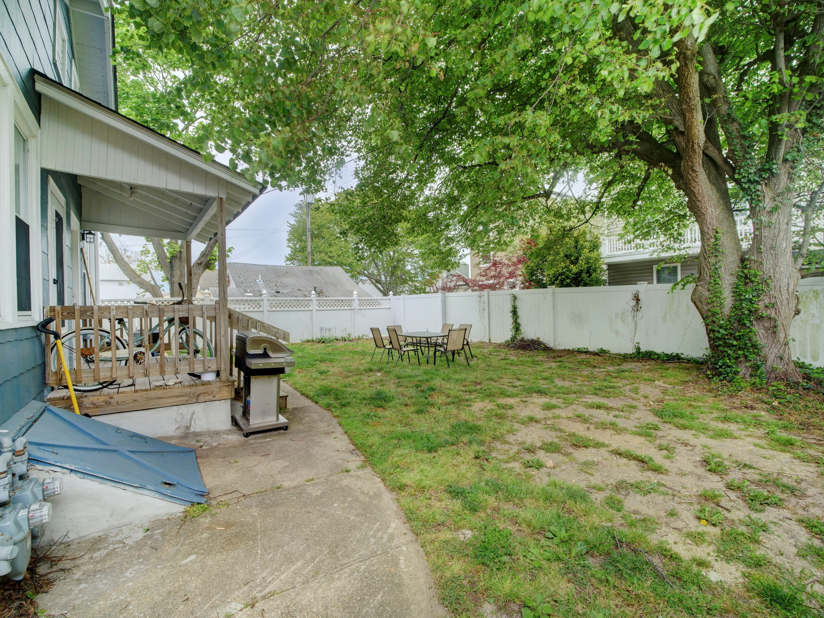 shared yard with grill and table