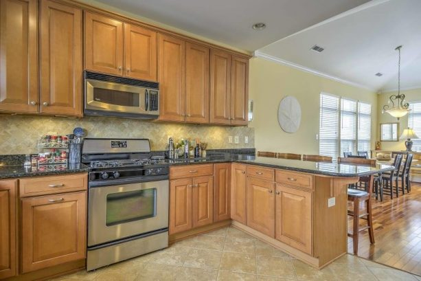 The chef of the group will relish in the fully equipped, open-style kitchen.
